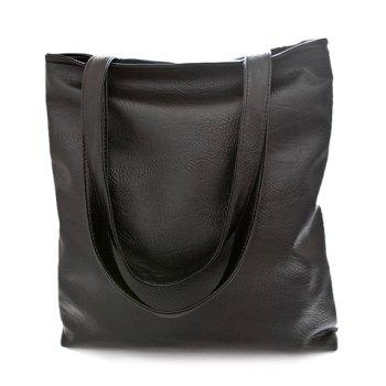 Concise PU Leather and Black Design Shoulder Bag For Women