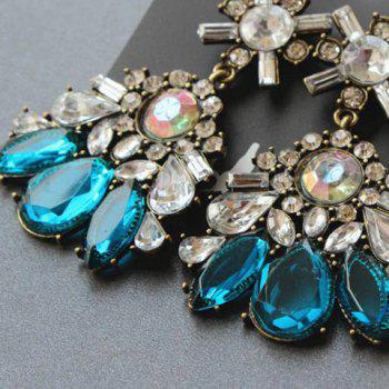 Pair of Faux Gemstone Embellished Drop Earrings - COLORMIX