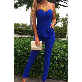 Stylish Solid Color Strapless Pockets Design Blue Jumpsuit For ...