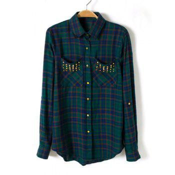 Checked Pattern Rivet Turn-Down Collar Long Sleeve Stylish Women's Shirt
