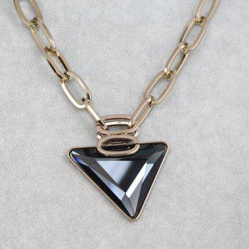 Sweet Cute Women's Triangle Shape Rhinestone Decorated Sweater Chain Necklace - GOLDEN GOLDEN