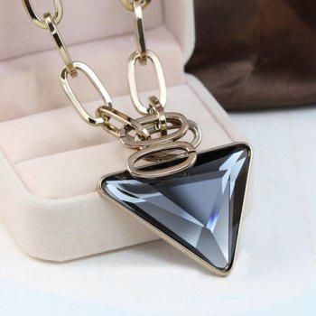 Sweet Cute Women's Triangle Shape Rhinestone Decorated Sweater Chain Necklace - GOLDEN