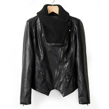 Faux Leather Kint Turn-Down Collar Long Sleeve Stylish Women's Jacket