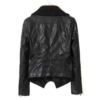 Faux Leather Kint Turn-Down Collar Long Sleeve Stylish Women's Jacket - BLACK S