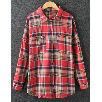Preppy Style Plaid Polo Collar Long Sleeve Cotton Blouse For Women