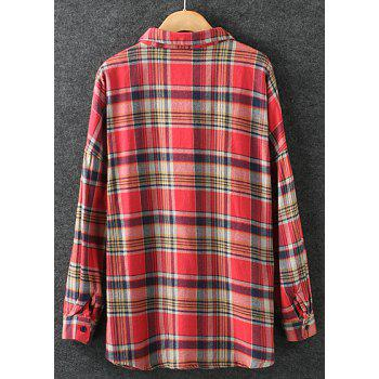 Preppy Style Plaid Polo Collar Long Sleeve Cotton Blouse For Women - RED M