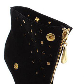 Party Rivets and Zip Design Sexy Gold High Heel Boots For Women - BLACK 36