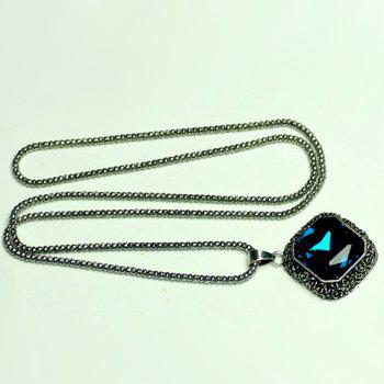 Chic Faux Gemstone Embellished Pendant Sweater Chain Necklace For Women