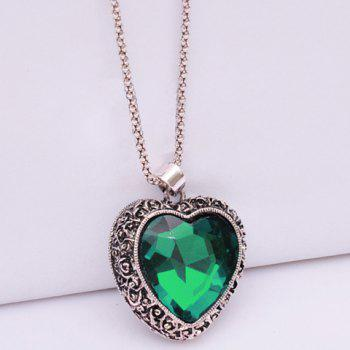 Chic Faux Gemstone Embellished Pendant Sweater Chain Necklace For Women - RAMDON COLOR PATTERN