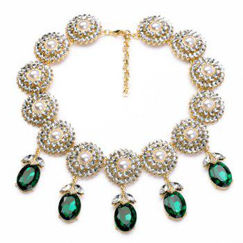 Trendy Green Gemstone Embellished Pendant Necklace For Women