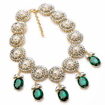 Trendy Green Gemstone Embellished Pendant Necklace For Women - AS THE PICTURE