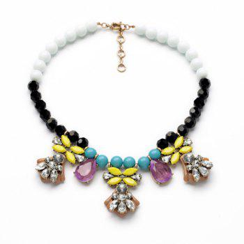 Beads Faux Gemstone Embellished Pendant Necklace