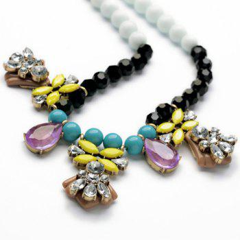 Beads Faux Gemstone Embellished Pendant Necklace - AS THE PICTURE