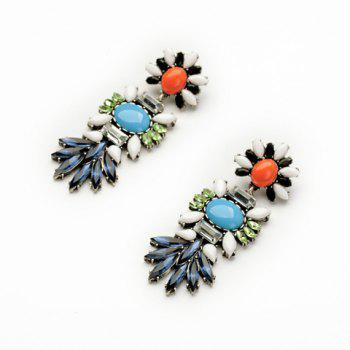 Pair of Retro Style Colorful Faux Gemstone Embellished Earrings For Women - Comme Photo