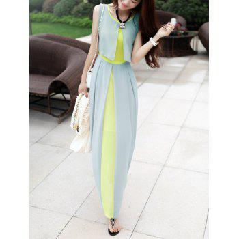Women's Chiffon Color Block High Waistline Stitching Cape-style Casual Dress - LIGHT GREEN S