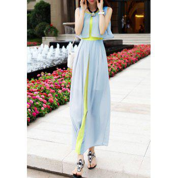 Women's Chiffon Color Block High Waistline Stitching Cape-style Casual Dress - S S