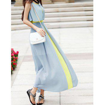 Women's Chiffon Color Block High Waistline Stitching Cape-style Casual Dress - LIGHT GREEN M