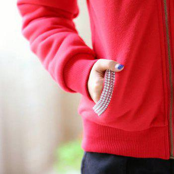 Fashionable Long Sleeve Zippered Hoodie For Women - RED RED