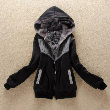 Fashionable Long Sleeve Zippered Hoodie For Women - BLACK BLACK