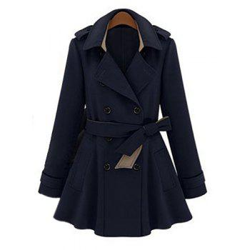 Solid Color Lapel Neck Double-Breasted Slimming Fashionable Women's Trench Coat