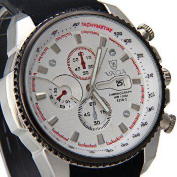 Valia 8258-2 Male Quartz Watch Day Decorative Non-functioning Sub-dials Rubber Watchband - WHITE
