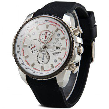 Valia 8258-2 Male Quartz Watch Day Decorative Non-functioning Sub-dials Rubber Watchband - WHITE WHITE