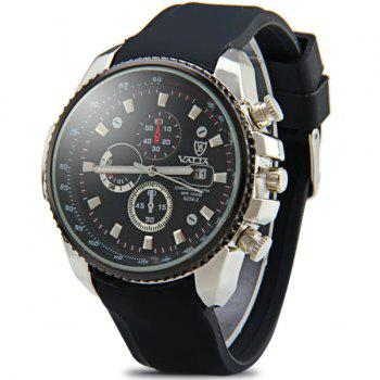 Valia 8258-2 Male Quartz Watch Day Decorative Non-functioning Sub-dials Rubber Watchband - BLACK BLACK