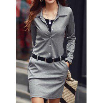 Buy Long Sleeve Sheath Office Dress GRAY