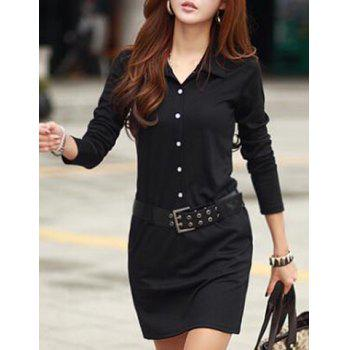 Casual Turn-Down Colllar Solid Color Long Sleeve Dress For Women