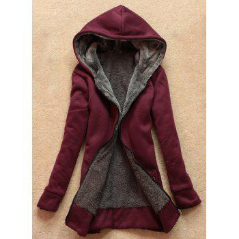 Stylish Women's Long Sleeves Solid Color Flocking Hooded Hoodie
