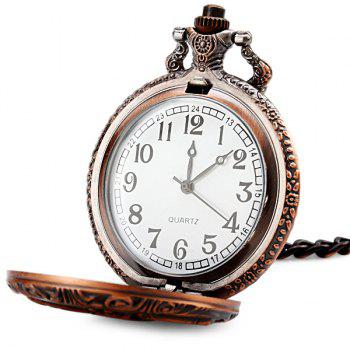 Flip Quartz Pocket Watch with Horse Face and Round Dial for Men -  COPPER COLOR