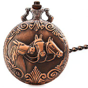 Flip Quartz Pocket Watch with Horse Face and Round Dial for Men