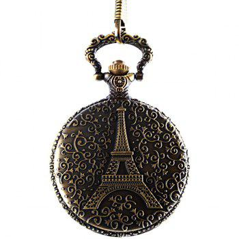 Quartz Flip Pocket Watch Paris Tower Pattern Round Dial for Men -  COPPER COLOR