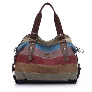 Casual Buckle and Striped Design Shoulder Bag For Women