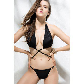 Sexy Solid Color Halter Bikini Set For Women - BLACK BLACK