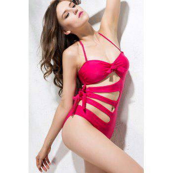 Sexy Style Spandex Bow Tie Solid Color Bikini Swimming Suit - ROSE RED M
