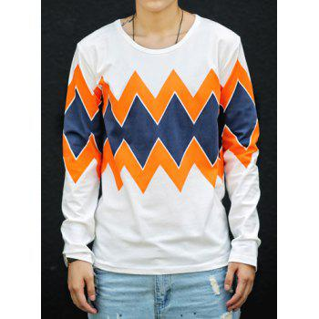 Fashion Hit Color Stripe Argyle Printed Round Neck Long Sleeve Slimming Men's Cotton T-Shirt