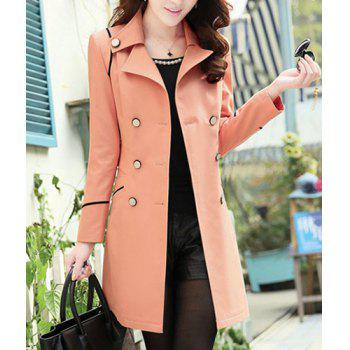 Casual Lapel Neck Solid Color Slimming Long Sleeve Trench Coat For Women