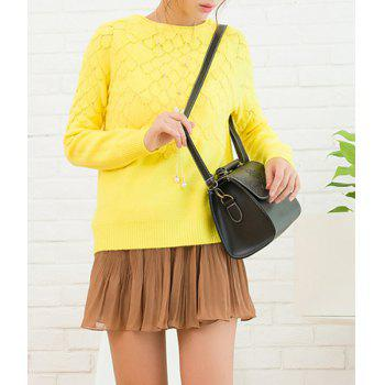 Casual Women's Jewel Neck Long Sleeves Solid Color Sweater