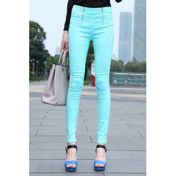 Casual Style Solid Color High-Waisted Zipper Narrow Feet Pants For Women