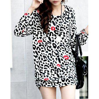 Trendy Style Scoop Collar Leopared and Lip Print Long Sleeve Dress For Women