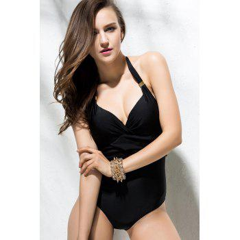 Lace-Up Design Backless V-Neck Solid Color One-Piece Swimwear - BLACK S