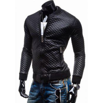 Trendy Slimming Plaid Long Sleeves Stand Collar Solid Color Thicken Zipper Design Men's Leather Jacket - BLACK BLACK