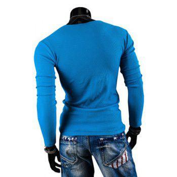 Fashion Solid Color Button Design Round Neck Long Sleeve Slimming Men's Polyester T-Shirt - LAKE BLUE 2XL