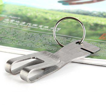 Practical Keychain with Clip Bottle Opener Bag Clasp Mobile Phone / Message Holder Bookmark for Household - Stainless Steel -