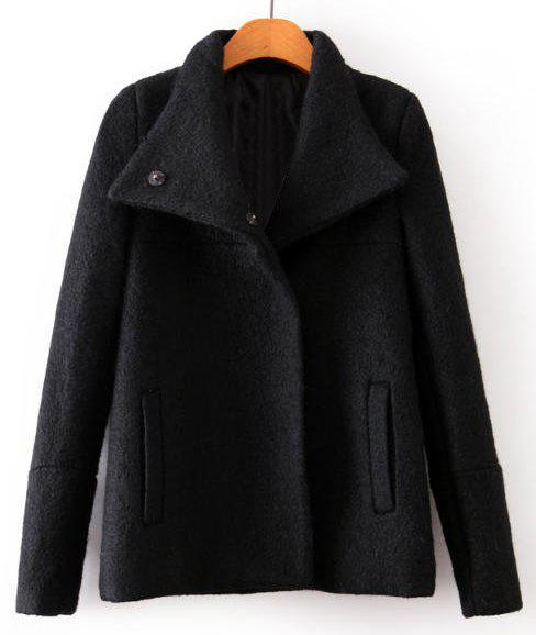 Solid Color Worsted Turn-Down Collar Long Sleeve Simple Style Women's Coat - BLACK L