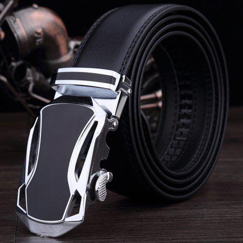 Men's Fashionable Automatic Buckle Faux Leather Belt - BLACK