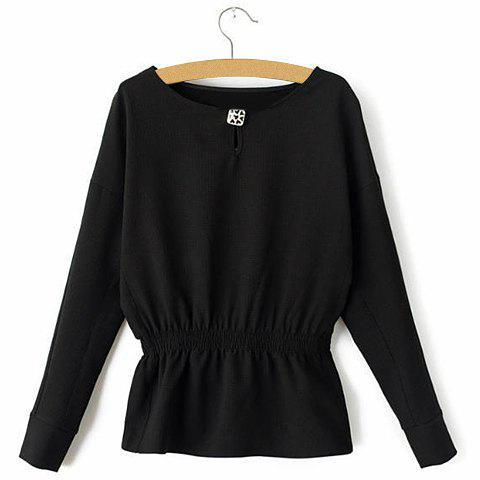 Elegant Solid Color Scoop Neck Elastic Waist Batwing Sleeve Sweatshirt For Women - BLACK S