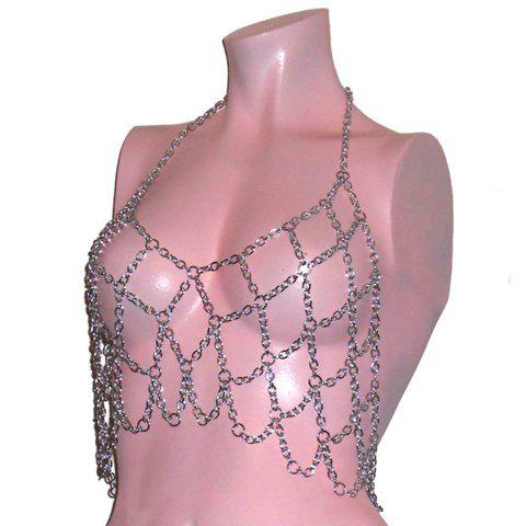 Hollow Out Geometric Matching Design Underwaist Pattern Body Chain - SILVER