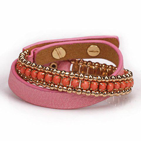 Fashion Stylish Women's Leather Chain Bracelet - PINK